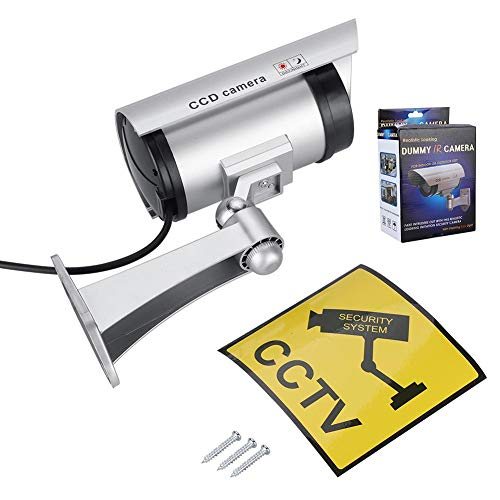 Dummy Camera, Non-inductive Dummy CCTV Security Camera with Simulated Red LED Flashing Light for Home Security