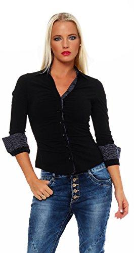 Fashion4Young 4862 Taillierte Langarm Businessbluse Damen Bluse Hemdbluse Business Citylook (S=36, schwarz)