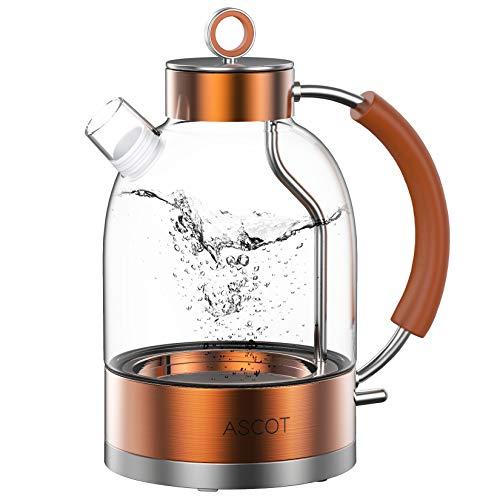 Wasserkocher Glas, ASCOT Glas Wasserkocher Elektrischer Wasserkocher Edelstahl, 2200W, 1,6L, Retro Design, BPA frei, leiser Schnellkochkessel, Trockengehschutz und automatische Abschaltung(Bronze-)