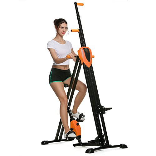 Anfan Vertical Climber Exercise Climbing Machine Fitness Cardio Workout Trainer for Home Gym (Orange-Upgreade)