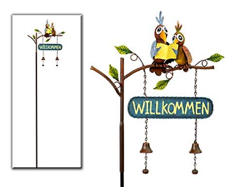 Stecker Gartenstecker Gartenstab *Willkommen* Vogelpaar Metall - H145cm