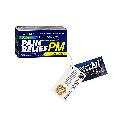 Health A2Z, Extra Strength Pain Relief PM,24 Tablets, Comparte to Tylenol PM Active Ingredient