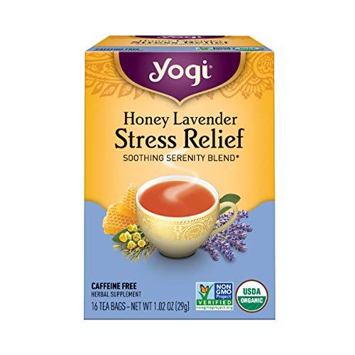 Yogi Tea, Soulagement du stress, sans caféine, miel lavande, 16 sachets de thé, 1,02 oz (29 g)