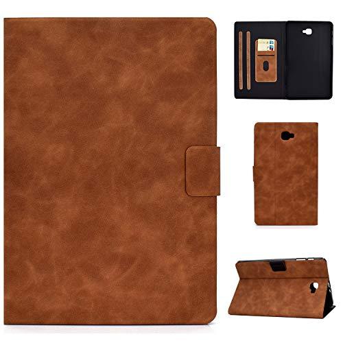 WHWOLF Compatible con Samsung Galaxy Tab A 10.1 (2016) Funda (SM-T580/SM-T585) Funda con soporte de piel sintética de alta calidad, resistente a los golpes, color marrón