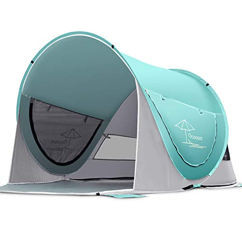 OCOOPA Beach Tent, Large Pop Up Beach Tent for 4 People, Anti-UV Automatic Beach Tent Camping Sun Shelter Instant Portable, 4 Sides Ventilation Design Sun Shelter Tents, Suitable for Family (Green)