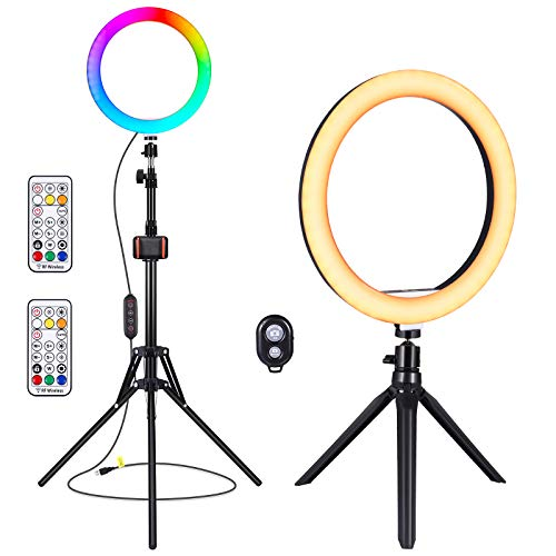 "10"" Selfie Ring Light, YUNLIGHTS 26 Colors RGB Ring Light with 2 Adjustable Tripod Stand/Phone Holder/Camera Remote Shutter Dimmable LED Circle Light for YouTube, Makeup,Photography"