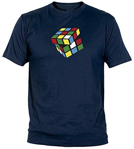 Camisetas EGB Camiseta Cubo Mágico Adulto/niño ochenteras 80´s Retro (S, Marino)