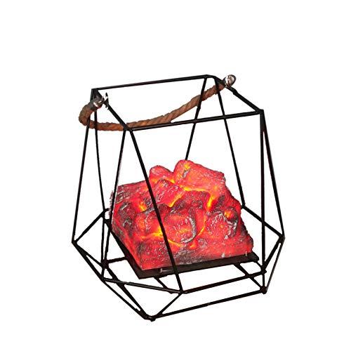 Elonglin - Lanterna da esterno a LED, per caminetto, con effetto fiamme e pile a carbone di legno,...
