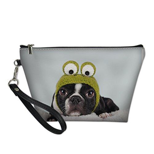 Hugs Idée d'impression de chien mignon Cuir PU Cosmétique Pouch Portable Trousse de toilette blanc Chiot S