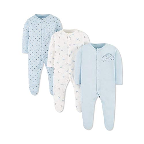 Mothercare Unisex Baby Io Cont MFB 3pk Sleeps Schlafstrampler, Schwarz (Blue 128), Tiny (Size:50)