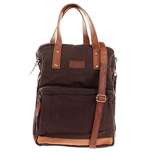LECONI Rucksack & Umhängetasche in einem für Damen & Herren Retro Backpack Canvas + echtes Leder Bodybag DIN A4 Schultertasche 2in1 Freizeitrucksack 28x37x13cm LE1014-C, Mokka / Braun, L