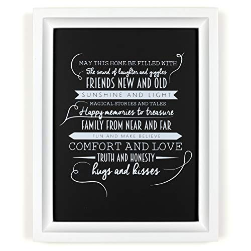 Ocean Drop Designs - 'May This Home' Quote Chalkboard Style Typography Wall Art - Print and White Frame - Perfect Housewarming Gift (8'X10')