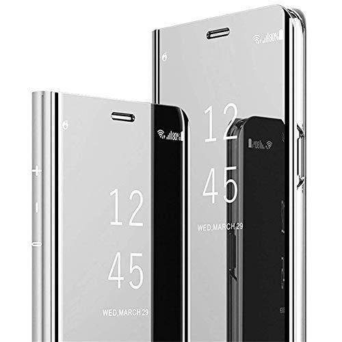 Coque Samsung Galaxy A21 Miroir Etui à Rabat Cuir,Clear View Placage Miroir Effet Folio à Clapet Flip Case,JAWSEU Transparente Standing 360 Degrés Housse de Protection pour Galaxy A21(Argent)
