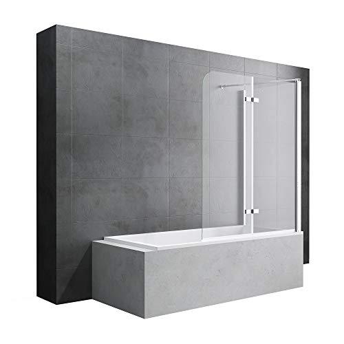 Badewannenfaltwand Cortona113, Wandanschlag rechts, in Klarglas inkl. Nano-Versiegelung, BTH: 70x120x140cm 6mm ESG-Glas