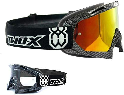 TWO-X Race Crossbrille Carbon Glas verspiegelt Iridium MX Brille Motocross Enduro Spiegelglas Motorradbrille Anti Scratch MX Schutzbrille