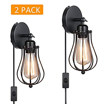 Tomshine Wall Sconces, Wire Cage Wall Lights with Plug in Cord, Industrial Wall Lamp, Rustic Wall Light Fixture for Home Decor Headboard Bedroom Farmhouse Porch Garage(2 Pack)