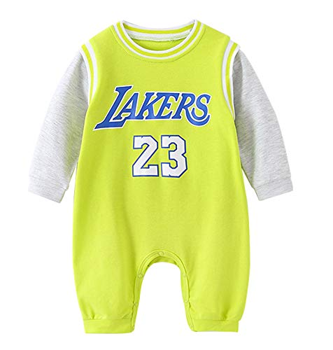 YANGLIXIA Mini-Basketballtrikot für Neugeborene, Lakers James #23, Baby-Trikot mit langen Ärmeln, Trifecta-Body-Set, 0-15 Monate, Cyan-80 cm