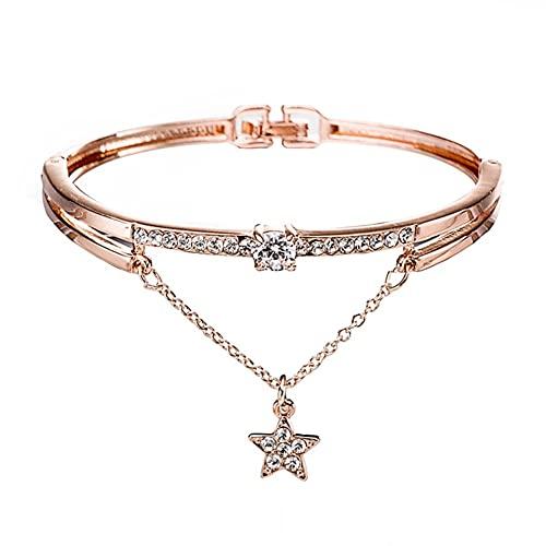 ZHANGCHI Braccialetto del braccialetto del braccialetto di cristallo sintetico del modello della pietra preziosa del diamante sintetico del diamante, braccialetto di apertura dei braccialetti del brac