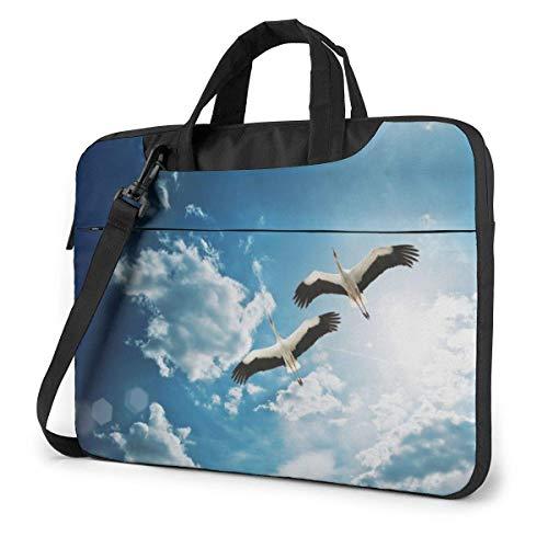 Bolsa de Hombro para computadora portátil Estuche para computadora portátil, Funda para computadora con Estampado de grúa Blanca, Bolsa Protectora para maletín de Negocios