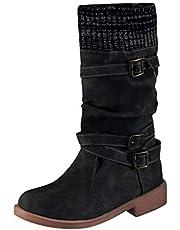 Botas Altas Mujer Mujer Cuña Plataforma Zapatos con Tacon Botas Cortas Mujer, Casuales Zapatos Planos Botas Vintage De Mujer,Botines De Cuero Mujer Otoño