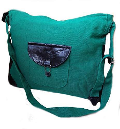 Merryland Handmade Upcycling Damen Handtasche mit Leder Details Unikat Grün Green Einzelstück handgenähte Tasche Women Bag Handbag