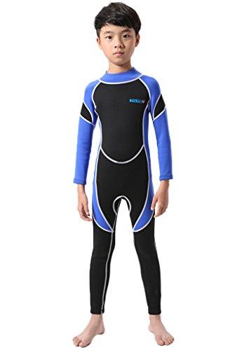 Cokar Kinder Neoprenanzug 2.5MM Einteiler mit Rückenreißverschluss Lang Sonnenschutz Wassersport - 12 , - Schwarz-Blau-2.5MM - XXL/12 (Für Höhe 150-162cm)