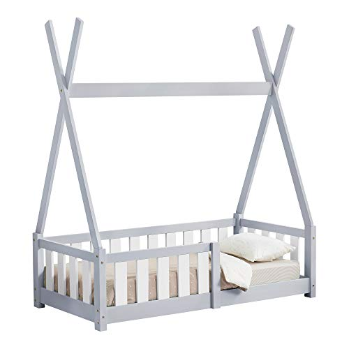 [en.casa] Cama para niños pequeños Cama Infantil 140x70cm Estructura Tipi de Madera Pino con reja de Seguridad Gris Claro