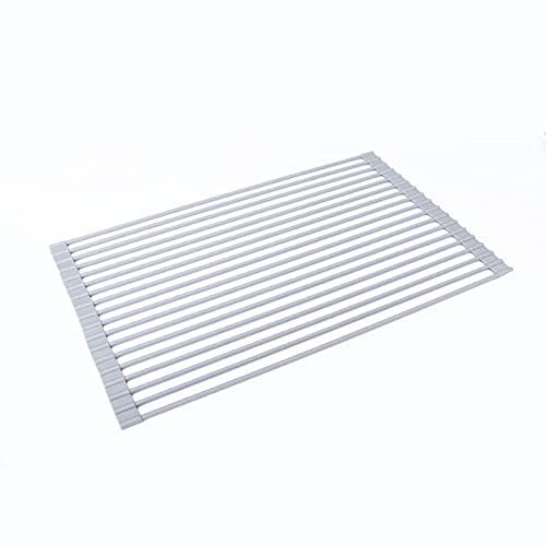WXHXSRJ Rejilla para secar Platos Enrollable, Rejilla para Platos Plegable para Fregadero, escurridores de Platos portátiles, para Fregadero de Cocina, Estante de Secado Enrollable,Round 52 * 33.5cm