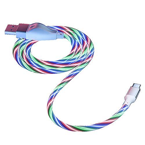 Augu LED Fluyendo Luz Cable De Carga Micro USB Cables De Datos Coche Teléfono Móvil Cable De Carga Rápida para iPhone Samsung Galaxy Huawei Xiaomi Accesorios,Verde,Android 1m