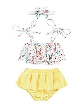 bilison Baby Girl Swimsuit Floral Sling Ruffle Bikini Top+Shorts Bathing Suits Beachwear Summer Clothes Yellow