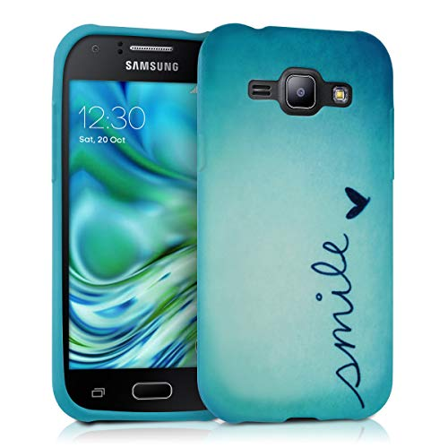 kwmobile TPU Silicone Case for Samsung Galaxy J1 (2015) - Soft Flexible Shock Absorbent Protective Phone Cover - Smile Blue/Turquoise