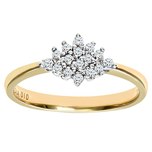 Naava Women's 9 ct Yellow Gold Diamond Cluster Ring, Size U