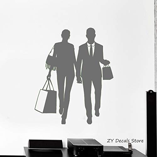 Compras silueta calcomanías de pared pareja asa bolsa tienda ventana pegatinas extraíble papel pintado venta caliente pared tatuaje colore-3 84x102cm
