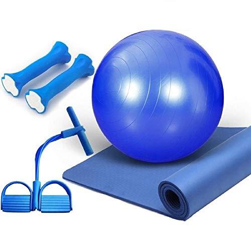 Lfnxin Multifunctionele combinatiecombinatie, yogamat, bal, spanband, geschikt voor yoga, pilates, fitness, gebruik buitenshuis blue set van Four _ 10 mm (beginners)