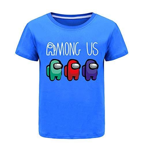 Forlcool Among Us Verano 100% Algodón Camiseta para Niños Niñas Camiseta de Manga Corta de 2 a 13 años azul 13-14 años