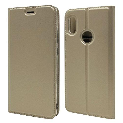 Copmob Funda Xiaomi Mi A2 / Mi 6X,Premium Flip Magnético Cuero PU Billetera Funda,[Ranura para Tarjeta][TPU a Prueba de Golpes][Función de Soporte],Carcasa Case para Xiaomi Mi A2 / Mi 6X - Oro
