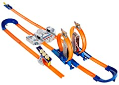 Set can be configured in multiple ways. All new two-way booster delivers several ways to play and launch cars. Includes car-activated and action-oriented stunts. 2 quick kick loops feature classic 360-degree action. Comes with 1 Hot Wheels die-cast c...