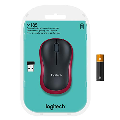 Logitech M185 Wireless Mouse, 2.4GHz with USB Mini Receiver, 12-Month Battery Life, 1000 DPI Optical Tracking, Ambidextrous PC/Mac/Laptop - Red