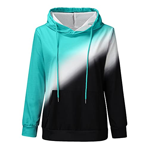 Uqiangy Hoodie Womens Classic Basic Hooded Athletic Top Lady Lightweight Casual Sweatshirt Blouse With Pocket,Multicolor (E-Green, 18)