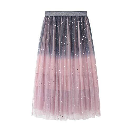 Bonita Falda Midi Gradient Color Female Long Tulle Falda Sparkling Starry Stars Tutu Falda Pink Blue One Size