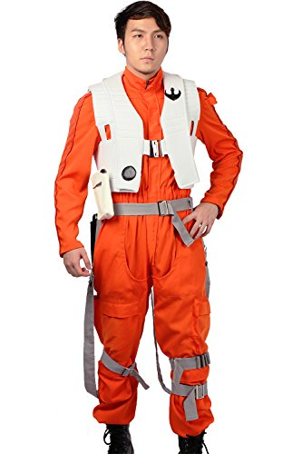 Xcoser Poe Dameron Costume Deluxe Orange Jumpsuit Suit Halloween Cosplay Outfit L - http://coolthings.us