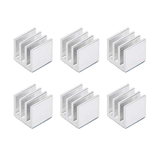 sourcing map 10x10x10mm Silver Tone Aluminum Heatsink Thermal Adhesive Pad Cooler for Cooling 3D Printers 6Pcs