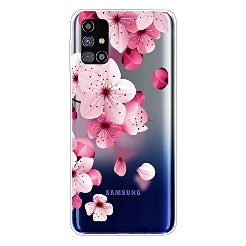 Miagon Transparent Case for Samsung Galaxy A71,Cherry Flower Pattern Creaive Funny Clear Soft Ultra-Thin Flexible Silicone Drop-Protection Fully Protective Cover Case