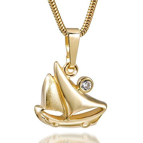 MATERIA 45cm Schlangenkette mit Segelboot Kettenanhänger Gold 333 Zirkonia inkl. Box #GKA-17_K22g-45cm