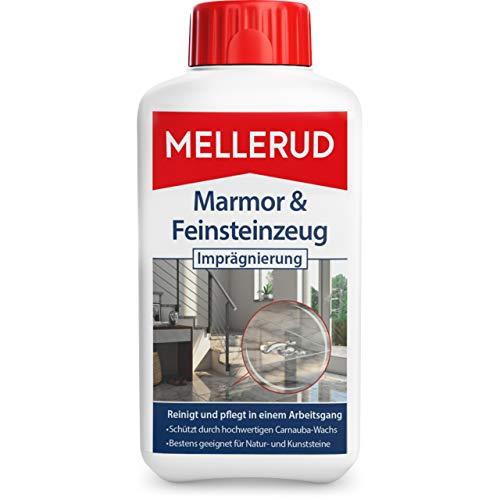MELLERUD Marmor & Feinsteinzeug Imprägnierung – Effizientes Mittel zum Schutz vor Verschmutzungen von Natur- und Kunststeinen im Innen- und Außenbereich – 1 x 0,5 l