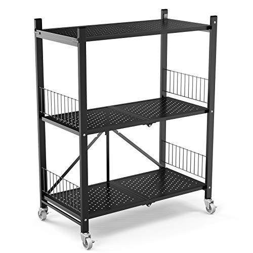 GLANDU 3-Shelf CollapsibleFoldable Heavy Duty Shelving Unit Steel Organizer Wire Rack with Wheels Rolling Cart Home Kitchen Laundry Closet Storage3-Tier