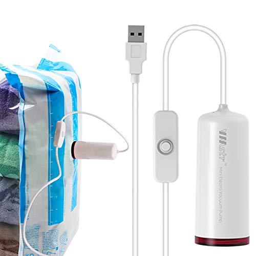 Bomba eléctrica USB con bolsas de vacío, bolsa de almacenamiento de compresión de doble grosor, hermética al aire Ahorre espacio para maleta de viaje de tamaño pequeño