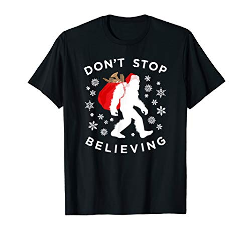 Christmas Bigfoot T-Shirt, Dont Stop Believing Sasquatch Tee
