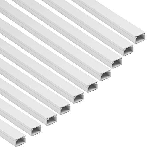 D-Line 1D2516W/10 Vierkant-Kabelabdeckung, 25 x 16 mm (B x H), selbstklebend, zum Verbergen und Sortieren von Kabeln Stück je 1 m lang (10-Meter-Multipack) – Weiß, 25x16mm 10 x 1
