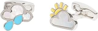 Simon Carter Mens Weather Symbol Cufflinks - Silver/Yellow/Blue